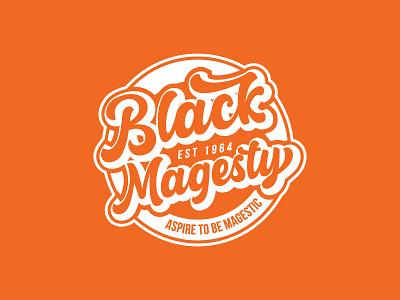 Black Magesty black round logo typography textbase logo illustration vector design logo design hipster classic retro vintage