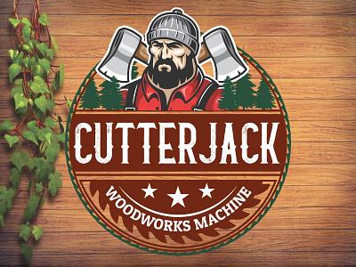 Cutterjack logo woodworks wood logo retro logo design old logo badge logo illustration logo design hipster classic retro vintage