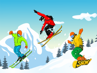 Skiing in the mountains  landscape background
