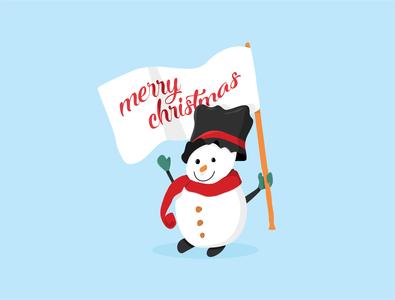 snowman with flag