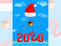 Santa on balloon throwing confetti
