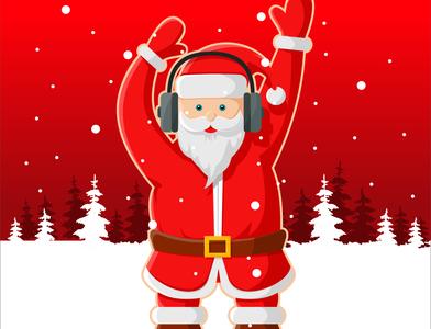 Dancing Santa Claus with Headphones