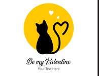Cute black cat valentine day