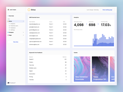 Pulsar — Dashboard first look dark mode app sketch ui website
