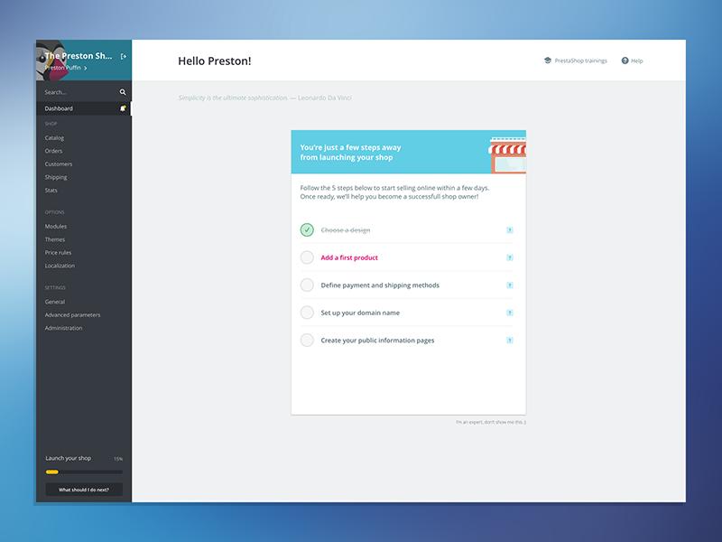 PrestaShop 1.7 navigation checklist progress sidebar onboarding ui shop ecommerce open source interface