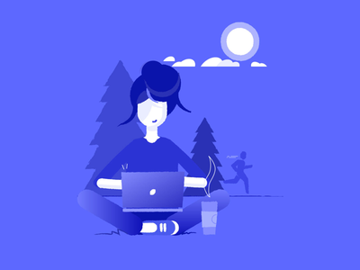 Working outside working girl laptop running coffee tree clouds illustration