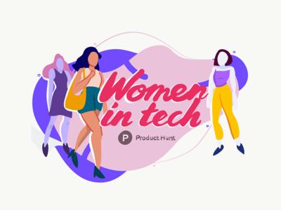 Women in tech — Product Hunt drawing sketch tech people silhouette women woman adobe draw pencil ipad illustration