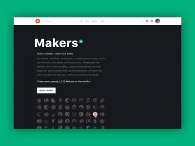 Product Hunt Makers — Waitlist website webpage tech web