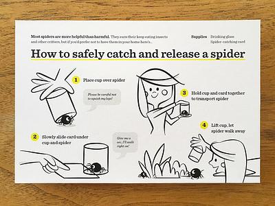 Spider Catcher Postcard postcard spider cartoon illustration science