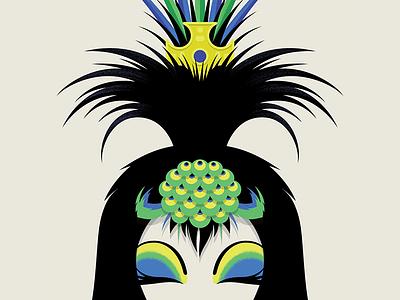 Priscilla / Bernadette drag queens costume makeup peacock feathers faces illustration