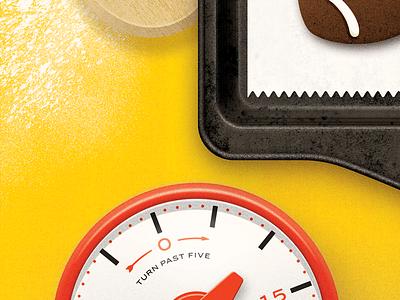 Baking peek texture spoon timer kitchen cookies football baking illustration