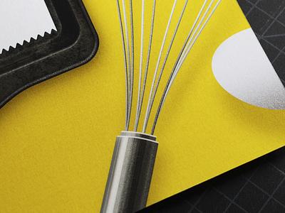 More baking giclee art print kitchen egg whisk baking illustration