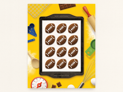 Laces Out chocolate baking cookies football ace ventura movie poster illustration fan art