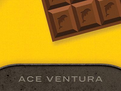 Dolphin chocolate dolphin chocolate baking movie poster fan art illustration ace ventura