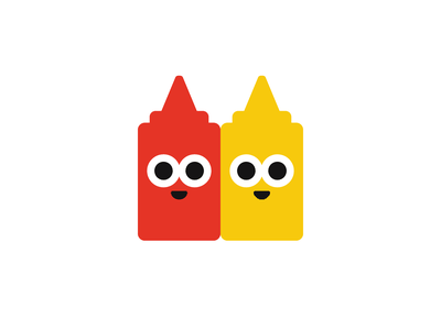 Stickers condiments mustard ketchup character design illustration