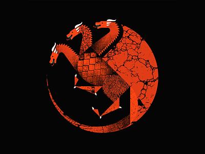 Fire and Blood geometric texture targaryen daenerys hbo game of thrones dragon vector illustration