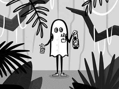 Ghost Dad lantern ghost jungle lost illustration