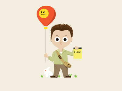 Ben Linus bunny hot air balloon ben linus lost character design character illustration