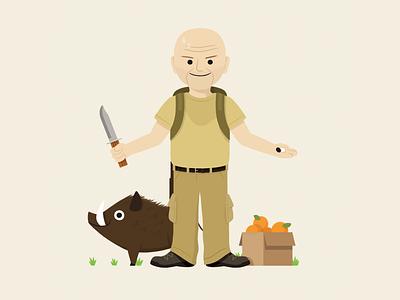 John Locke oranges box board knife john locke characterdesign character illustration
