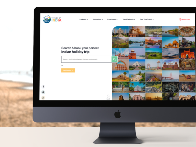 Tourism of India uidesign uiux minimalisticdesign website indiatravel tourisminindia tourism