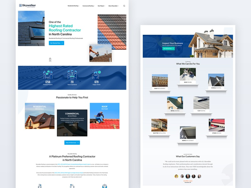 Metal Roofing Landingpage layoutdesign logo iconography uiux ui homepage roof installation
