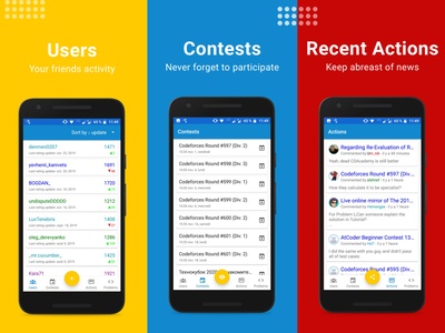 Design for Codeforces Watcher android mobile app ux ui design