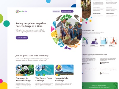 Earth Tribe challenges scouting scouts sdgs web design interface homepage webdesign figma mockup grayscale landing page website web ui ux