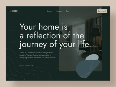 tulumi website interior landing page green minimal web design web color palette typography branding logo design visual design ui ux