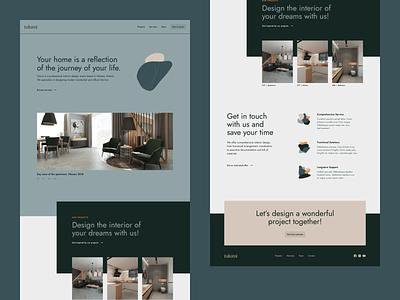tulumi web interior green minimal design wireframes grid layout landing page web design website web ui ux