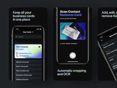 Bizdeck app business card black dark interaction visual design ios mobile app ui ux