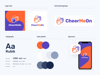 CheerMeOn Branding logotype logo app icon app typography color palette branding mobile app