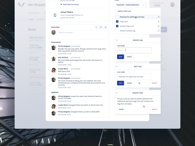 Stand Details dashboard modal sales crm management deals visual design ui ux