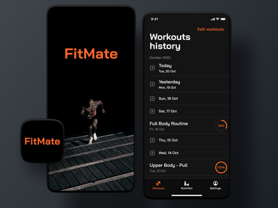 FitMate style explorations #2 profile signup login onboarding ios training lifestyle health workout fitness app gym exercise fitness fit visual design mobile app app ux ui
