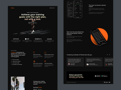 FitMate Landing Page website landing page mobile app training lifestyle health workout fitness app gym exercise fitness fit visual design app ux ui