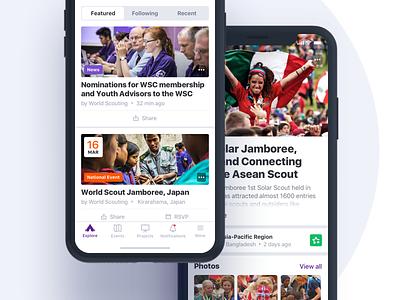 Scouts mobile iOS app sketch minimal news details feed visual design ios mobile app ux ui