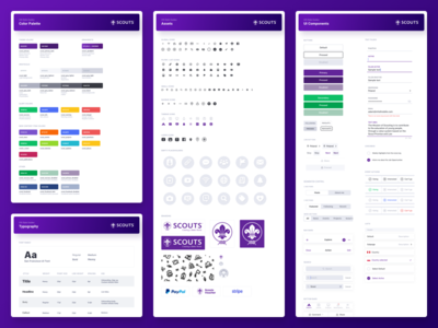 Style Guides — Scouts app visual language ui elements typography style guides pattern library library icons guidelines guide design system components colors palette