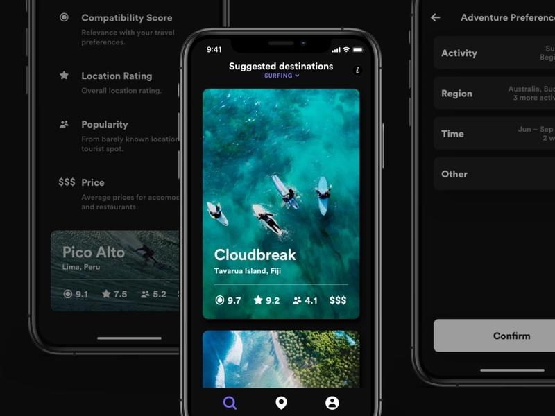 Desitnations black dark sport travel visual design sketch mobile app ui ios ux