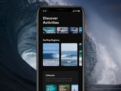 Discover prototype parallax extreme lifestyle surfing sport travel principle sketch mobile app ios ux ui