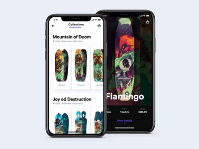 Collections visual design animation interaction longboard product catalog product card principle sketch mobile app ios ui ux