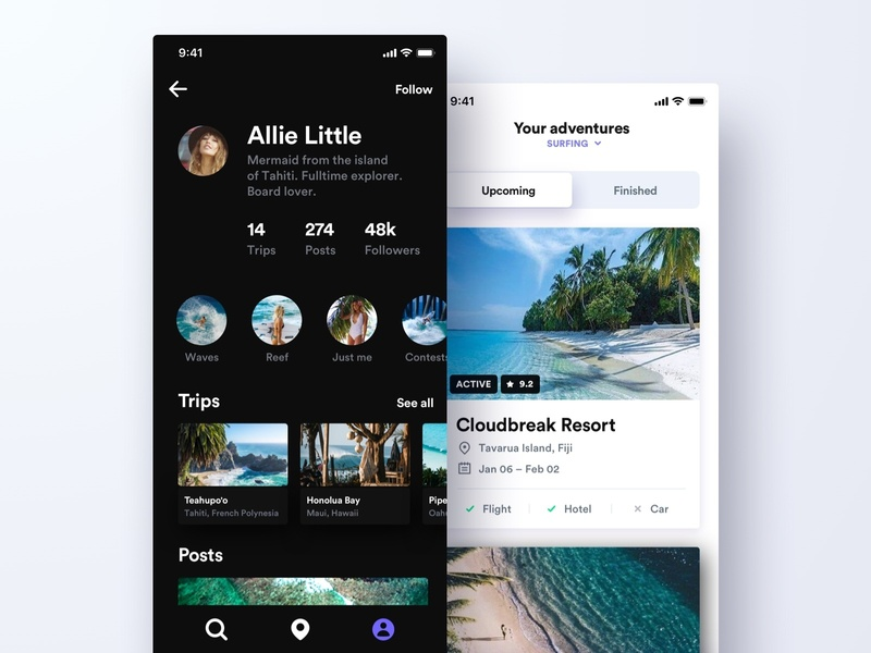 Adventures stats account list view profile surfing travel visual design sketch mobile app ios ui ux