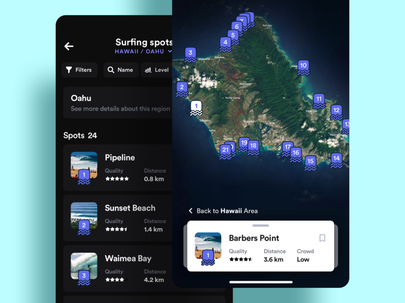 Surfing Spots Map travel pins cards filters list mobile app spots surfing map ios ui ux
