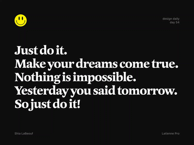 Just Do It! weekly warmup weekly warm-up typeface quote playoff warmup colors dribbbleweeklywarmup animation vector typography type resolution new year resolution new year letters lettering 2020