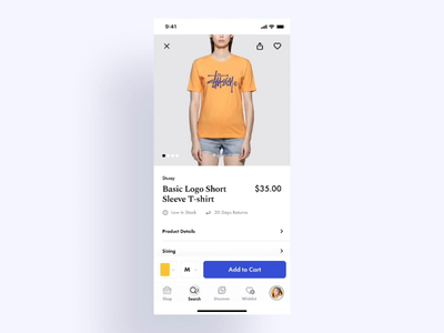 product details fashion app fashion clothing product card product page product figma interaction principle animation visual design mobile app ios ui ux