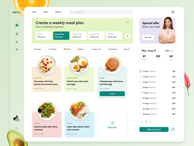 Healthy Food Planner app mobile desktop ux ui service delivery food