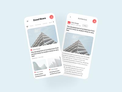 News App news blog ux app clean minimalist flatdesign design ui mobile ui mobile design mobile app