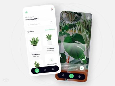 Plant Care Assistant plant plants app scan green concept app design ui design ui app mobile figma clean minimal simple