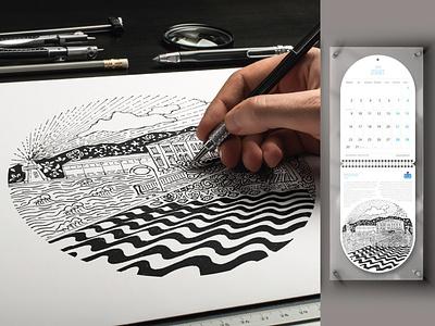 Dünya miras listesinde İZMİR ve turizm illüstrasyonları calendar türkiye pasaport kordon izmir painting drawing draw art illustration