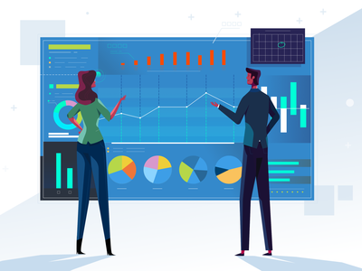 Analytics female male characters explainer illustration