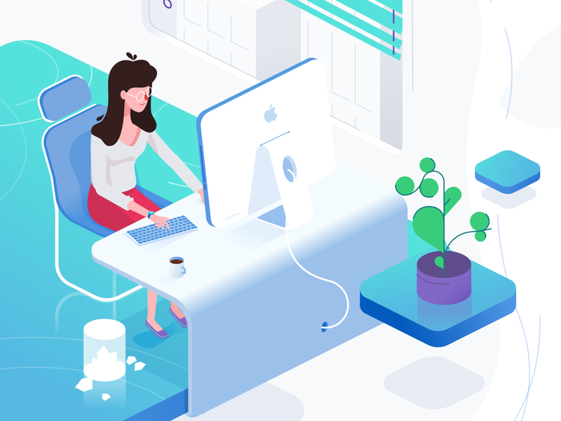 Isometric Office flat character explainer illustration