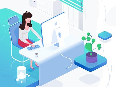 Isometric Office flat character explainer illustration